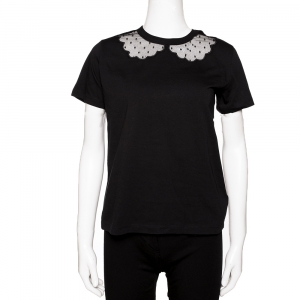 RED Valentino Black Cotton Embroidered Tulle T-Shirt Size M