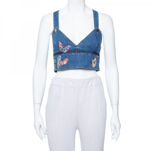 Valentino Navy Blue Denim Butterfly Embroidered Dungaree Crop Top M