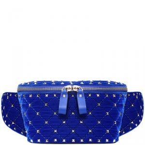 Valentino Acid Bluette Quilted Velvet Rockstud Spike Belt Bag