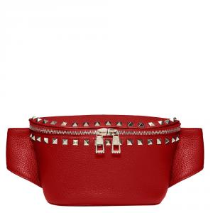 Valentino Rosso V. Grainy Leather Rockstud Belt Bag Size 75