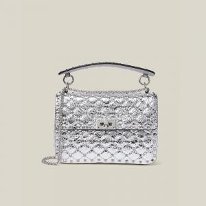 Valentino Garavani Metallic Silver Rockstud Spike Medium Leather Bag