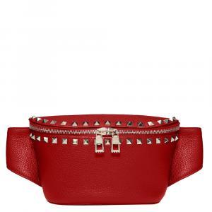 Valentino Rosso V. Grainy Leather Rockstud Belt Bag