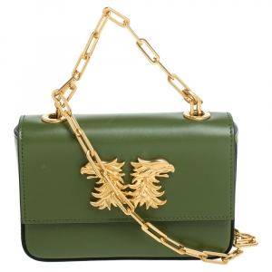 Valentino Green Leather Mini With Griffin Accessory Crossbody Bag