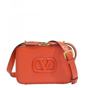 Valentino Garavani Orange Leather V-Sling Small Shoulder Bag