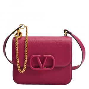 Valentino Garavani Pink Leather V-Sling Small Shoulder Bag