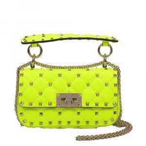 Valentino Garavani Flu Yellow Leather Rockstud Spike Mini Shoulder Bag