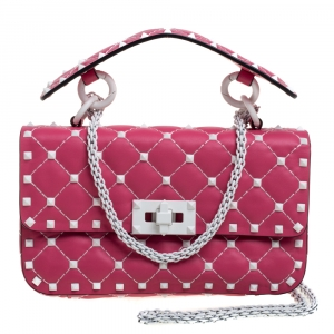 Valentino Pink Quilted Leather Small Rockstud Spike Chain Shoulder Bag