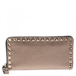 Valentino Metallic Gold Leather Rockstud Zip Around Wallet