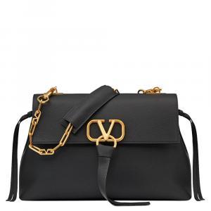 Valentino Black Grainy Leather Medium VRING Chain Shoulder Bag