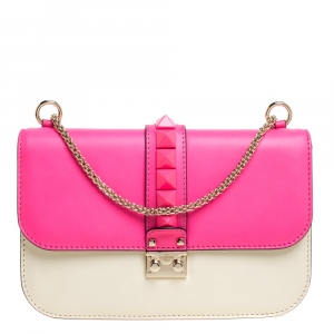 Valentino Neon Pink/White Leather Rockstud Medium Glam Lock Flap Bag