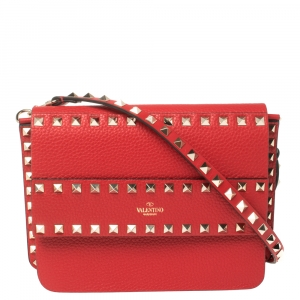 Valentino Red Leather Small Rockstud Crossbody Bag