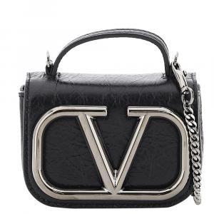 حقيبة فالنتينو غارافاني مايكرو يد علوية سوبرفي جلد سوداء