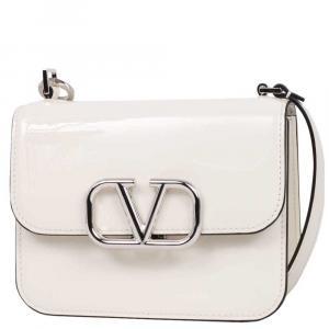 Valentino Garavani White Patent Leather VLogo Crossbody Bag