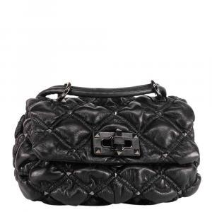Valentino Garavani Black Small Nappa Leather SpikeMe Shoulder Bag