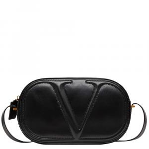 Valentino Garavani Black Vlogo Calfksin Leather Crossbody Bag