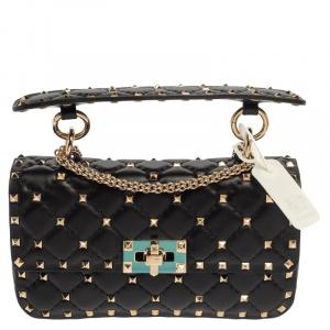 Valentino Garavani Black Leather Rockstud Spike Small Bag
