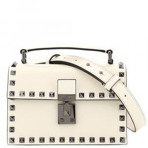 Valentino Garavani Ivory Leather Rockstud Crossbody Bag