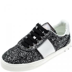 Valentino Rutenio/Bianco Glitter Flycrew Lace Up Sneakers Size 38