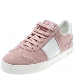 Valentino Loto/Bianco Suede and Leather Flycrew Lace Up Sneakers Size 37