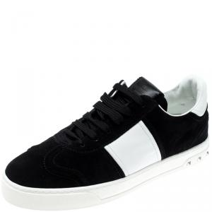 Valentino Bianco/Nero Suede and Leather Flycrew Lace Up Sneakers Size 39.5