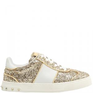 Valentino Oro/Bianco Glitter Flycrew Lace Up Sneakers Size 36.5