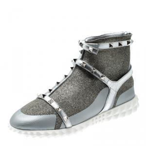 Valentino Silver/Bianco Stretch Knit and Leather Rockstud Bodytech High Top Sneakers Size 38.5