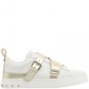Valentino Bianco/Platino Soft Nappa Leather V-Punk Velcro Sneakers Size 38.5