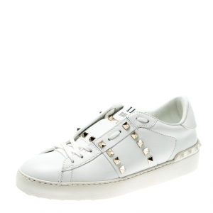 Valentino White Leather Rockstud Untitled Low Top Sneakers Size 38