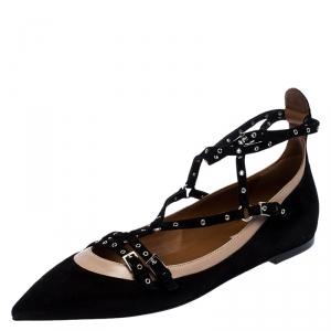 حذاء فلات باليه فالنتينو قفصي Love Latch سويدي أسود مقاس 40
