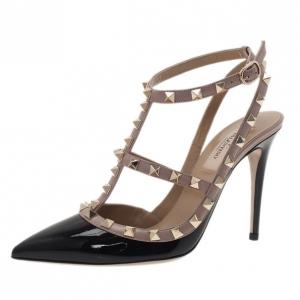 Valentino Black and Beige Patent Rockstud Sandals Size 37.5