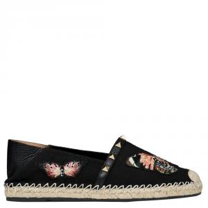 Valentino Black Canvas Embroidered Butterfly Espadrille Slip on Sneakers Size 37