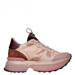 Valentino Multicolor Fabric and Leather Camouflage Rockrunner.Up Platform Sneakers Size 37