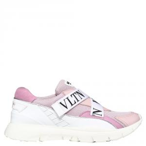 Valentino Water Rose Stretch Knit and Leather VLTN Heroes Her Low-Top Sneakers Size 37.5