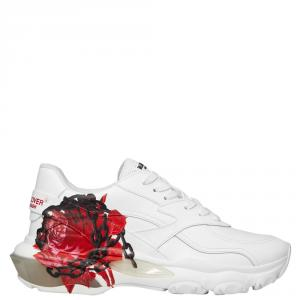 Valentino White Chain Rose by Undercover Print Leather Bounce Sneakers Size 40