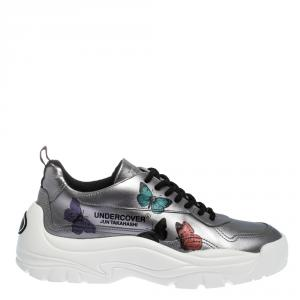 Valentino Silver Leather Butterflies by Undercover Print Platform Sneakers Size 38