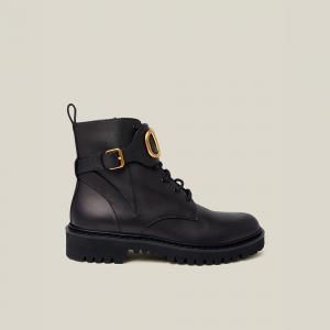 Valentino Garavani Black V-Logo Combat Boots Size IT 40