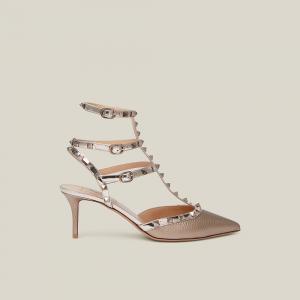 Valentino Garavani Metallic Beige Rockstud Leather Pumps Size IT 39.5