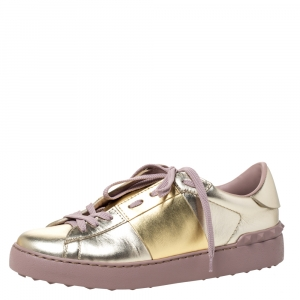 Valentino Metallic Gold Band Leather Open Low Top Sneakers Size 38