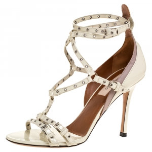 Valentino White Patent Leather Eyelet Detail Strappy Sandals Size 36.5 -