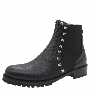 Valentino Black Fabric and Leather Rockstud Ankle Boots Size 38