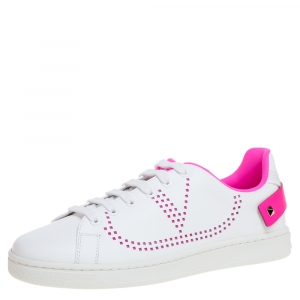 Valentino White/ Florescent Pink Leather V-Logo Sneakers Size 37.5