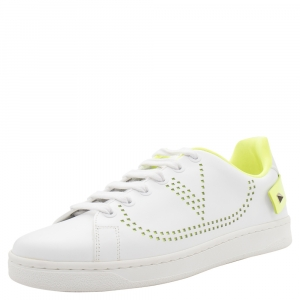 Valentino White/Florescent Green V-Logo Leather Sneakers Size 37.5