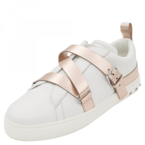 Valentino White/Metallic Bronze Leather Cross Strap Sneakers Size 40