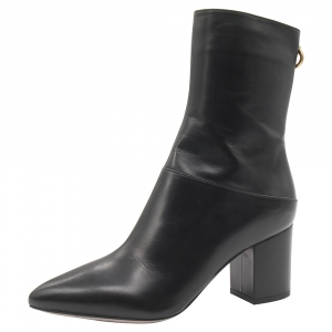 Valentino Black Leather Pointed Toe Ankle Length Boots Size 40