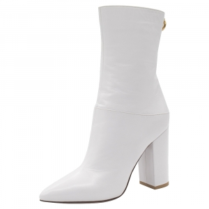 Valentino White Leather Ankle Length Pointed Toe Boots Size 36.5