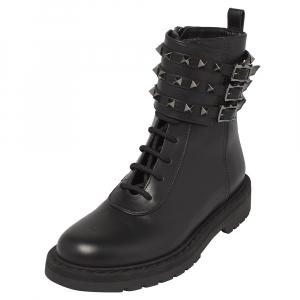 Valentino Black Leather Rockstud Combat Boots Size 39