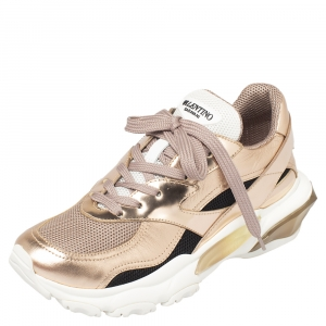 Valentino Metallic Pink Leather And Mesh Bounce Sneakers Size 40