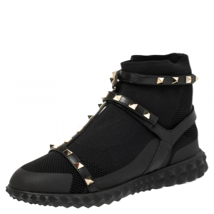 Valentino Black Cotton Knit Rockstud Embellished Strap High Top Slip On Sneakers Size 39.5