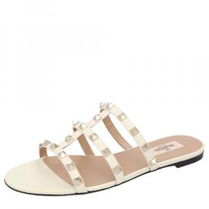 Valentino White New Rockstud Slide Sandals Size 38