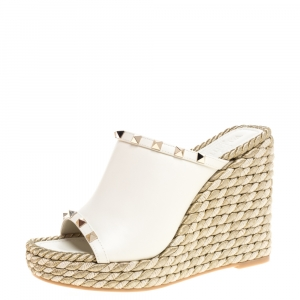 Valentino Cream Leather Rockstud Wedge Slide Platform Sandals Size 38